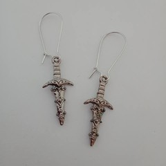 Silver sword / dagger charm earrings