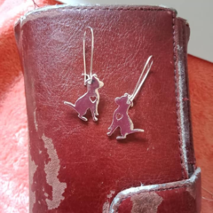 Silver dog charm heart earrings