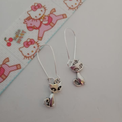 Silver cat charm earrings
