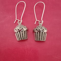 Silver cupcake charm earrings