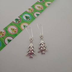 Silver Christmas tree star earrings
