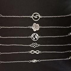 Silver chain charm bracelets