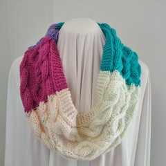 Hand Knitted Continuous Cable Scarf - Pink Purple Aqua & White