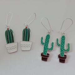 Silver enamel cactus earrings