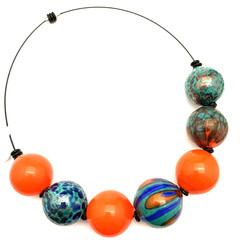 'Carnivale' necklace - hand blown one-of-a-kind glass bead necklace