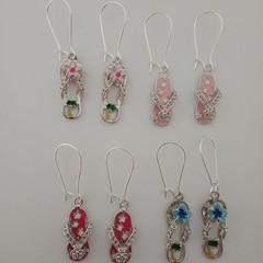 Silver flip flop / beach earrings