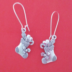 Silver Christmas stocking earrings