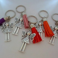 Silver doll / angel charm keyrings with tassels