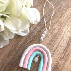 Polymer Clay Rainbow Essential Oil Diffuser Car Charm with Rose Quartz and Lava