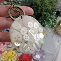 Round Resin Keyring - WHITE Buttons - Bag Tag - Luggage Identifier