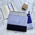 A4 Felt Two Tone Document Computer Travel Bag Gift Silver Navy Ash