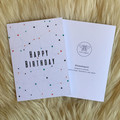 Geometric Happy Birthday Card W Coloured Dots and Black Line on White