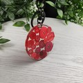 Round Resin Keyring - RED Buttons - Bag Tag - Luggage Identifier