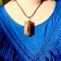 Eco Epoxy Resin Wood Pendant - clear with hints of greeny yellow