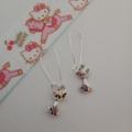 Silver cat charm earrings