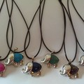 Elephant stone charm necklaces