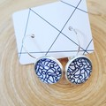 Glass - Leverback Silver Plated Studs