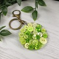 Round Resin Keyring - GREEN Buttons - Bag Tag - Luggage Identifier