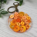 Round Resin Keyring - ORANGE Buttons - Bag Tag - Luggage Identifier