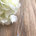 Sterling Silver 1mm Ball Chain Necklace with Glass Evil Eye Charm
