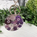 Round Resin Keyring - PURPLE Buttons - Bag Tag - Luggage Identifier