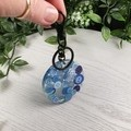 Round Resin Keyring - BLUE Buttons - Bag Tag - Luggage Identifier