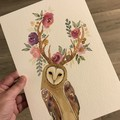 Original Watercolour Fantasy Art Owl
