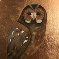 Original Watercolour Purple Art Barn Owl