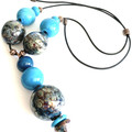 'Oceans' necklace - hand blown one-of-a-kind glass bead necklace