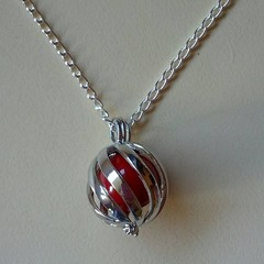 Silver harmony ball red necklace