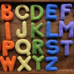 Pale Rainbow Felt Uppercase Alphabet