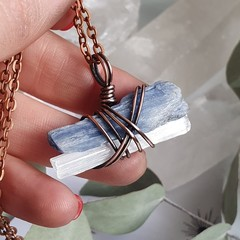 Selenite and Blue Kyanite Pendant