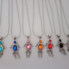 Silver gem baby charm necklaces