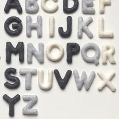 Grey Cream Felt Alphabet, Felt letters, Preschool basics