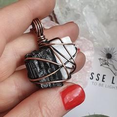 Black Tourmaline and Selenite Pendant