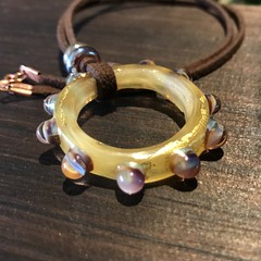 Handmade Glass Bead Leather Necklace