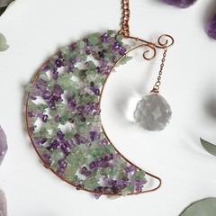 Amethyst and Aventurine Crescent Moon Sun Catcher