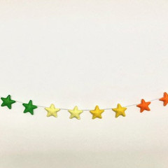 Blue Rainbow Felt Star Garland, Wall decor, Children's room