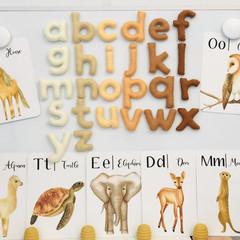 Magnetic felt letters in natural colours, magnetic alphabet, felt magnet letters