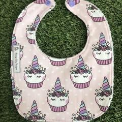 Unicorn Cupcake Bib ~ Pink and purple ~ feeding Bib
