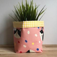 Small fabric planter | Storage basket | Pot cover | CONFETTI CAT