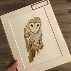 Original Watercolour Barn Owl with 24k Gold Leaf
