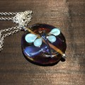 Handmade Glass Dragonfly Pink Pendant