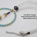 Car Mirror Hanger - 4mm Blue Glass Pearl Beads