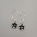Silver flower dangle earrings with turquoise centres
