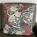 Square cushion cover peacock