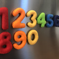 Magnetic felt numbers in rainbow colours, felt magnet numbers, fridge magnets nu