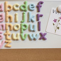 Magnetic felt letters in pastel colours, magnetic alphabet, fridge magnets, magn