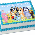 Bluey and Friends Rectangle Edible Icing  Personalized  Cake Topper