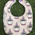 Unicorn Cupcake Bib ~ Pink and purple ~ feeding Bib